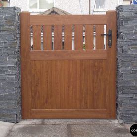 PVC Golden Oak Side Gates